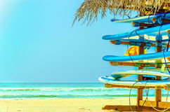 Exotic beach with colorful surfboards, Sri Lanka Stock Image