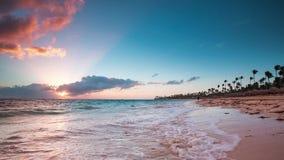 Exotic Beach in Dominican Republic, Punta Cana. Sunrise video stock video