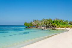 Exotic beach with gold sand, Caribbean Islands Royalty Free Stock Images