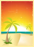 Exotic Beach Grunge Postcard Stock Image