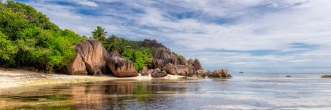 Free Exotic Beach In Seychelles, La Digue Island, Royalty Free Stock Images - 158994659