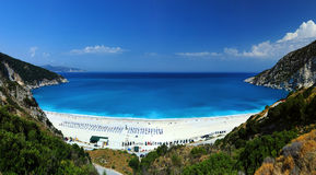Exotic beach Myrtos Kefalonia. A panorama of the famous Myrtos Beach in Kefalonia, Greece Royalty Free Stock Photos