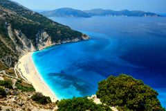Exotic beach Myrtos Kefalonia. A wide shot of the famous exotic beach Myrthos in Kefalonia, Greece Stock Images