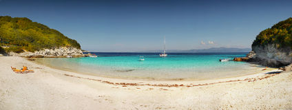 Exotic beach. Panorama - Exotic beach on Antipaxos Island, Greece Royalty Free Stock Image