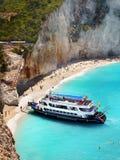White Sandy Beach Cruise Lefkada Royalty Free Stock Image