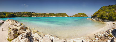 Exotic Beach Panorama, Paxos island Stock Image