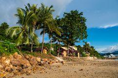 Exotic beach in Sumbawa with beach front restaurant Stock Images