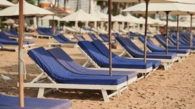 Exotic beach with sun loungers. Vietnam. The city of Nha Trang. Exotic beach with sun loungers. Vietnam. The city of Nha Trang stock video footage