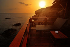 Exotic Beach Sunset royalty free stock image