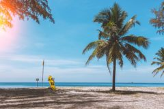 Exotic beach in Thailand for surfing. Paradise relax. royalty free stock images