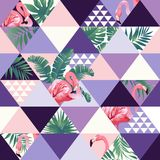Exotic beach trendy seamless pattern, patchwork illustrated floral  tropical banana leaves. Jungle pink flamingos Royalty Free Stock Image