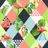 Exotic beach trendy seamless pattern, patchwork illustrated floral  tropical banana leaves. Jungle pink flamingos Wallpaper. Print background Stock Photo