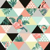 Exotic beach trendy seamless pattern, patchwork illustrated floral  tropical banana leaves. Jungle pink flamingos Wallpaper. Exotic beach trendy seamless pattern Royalty Free Stock Photography