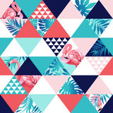 Exotic beach trendy seamless pattern, patchwork illustrated floral tropical banana leaves. Jungle pink flamingos Wallpaper print background mosaic vector illustration