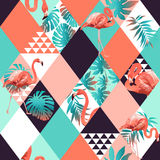 Exotic beach trendy seamless pattern, patchwork illustrated floral tropical banana leaves. Jungle pink flamingos Wallpaper print background mosaic stock illustration