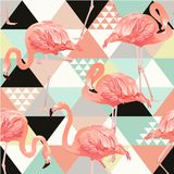 Exotic beach trendy seamless pattern, patchwork illustrated floral vector tropical banana leaves. Jungle pink flamingos. Jungle pink flamingos. Wallpaper print stock illustration