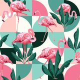 Exotic beach trendy seamless pattern, patchwork illustrated floral vector tropical banana leaves. Jungle pink flamingos. Exotic beach trendy seamless pattern stock illustration