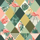 Exotic beach trendy seamless pattern patchwork illustrated floral vector tropical leaves. Jungle pink flamingos print royalty free illustration