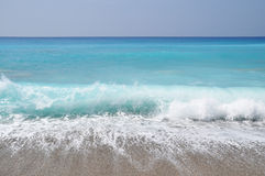 Exotic beach waves. Blue water royalty free stock photos