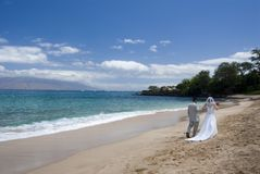 Exotic Beach Wedding Wide view Royalty Free Stock Images