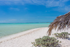 Exotic beach with white sand and umbrellas made of palm leafs Royalty Free Stock Photos