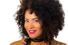 Exotic beautiful young girl with dark curly hair Stock Images
