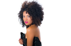 Exotic beautiful young girl with dark curly hear Stock Images
