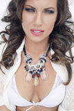 Exotic beauty 2. Beautiful brunet summer lady with necklace Stock Photos