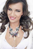 Exotic beauty. Beautiful brunet summer lady with necklace Stock Photos