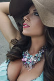 Exotic beauty 4. Beautiful brunet summer lady with necklace Stock Images
