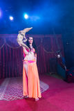 Exotic Belly Dancer Holding Small Crocodile Royalty Free Stock Images