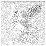 Exotic bird,fantastic flowers,branches, leaves.  Set of illustra. Exotic bird,fantastic flowers,branches, leaves.Hand drawn Firebird for anti stress Coloring Stock Images