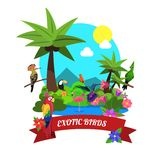Exotic Birds Concept. With tropical island nature flat vector illustration Stock Photo