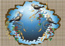 Exotic Birds On The Flowers.Background. Illustrati Royalty Free Stock Photography