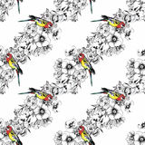 Exotic birds parrot with flowers colorful seamless pattern. Watercolor illustration. Stock Photos