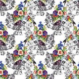 Exotic birds parrot with flowers colorful seamless pattern. Watercolor illustration. Royalty Free Stock Photography