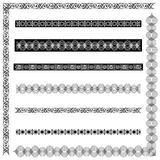 Exotic Borders. A collection of elegant and exotic frames,  vector illustration, black & white. The collection includes 2 corner borders and 6 stand-alone Royalty Free Stock Images
