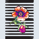 Exotic branch botanical tropical flowers roses print stripes pat Royalty Free Stock Photos