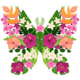 Exotic Butterfly with Tropical Flowers and Leaves vector illustration