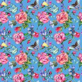 Exotic butterfly wild insect and roses pattern in a watercolor style. Stock Photo