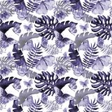 Exotic butterfly wild insect and tropical leaf pattern in a watercolor style. Stock Photos