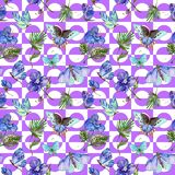 Exotic butterfly wild insect and tropical leaf pattern in a watercolor style. Full name of the insect: blue butterfly. Aquarelle wild insect for background Stock Images