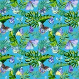 Exotic butterfly wild insect and tropical leaf pattern in a watercolor style. Stock Photo