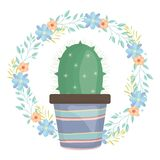 Exotic cactus plant in ceramic pot with floral crown. Vector illustration design royalty free illustration