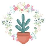 Exotic cactus plant in ceramic pot with floral crown. Vector illustration design stock illustration