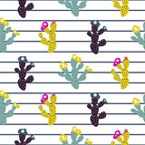 Exotic cactus seamless pattern modern print with stripes. Purple and green mint simple floral abstract vector texture for print Stock Illustration