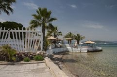 Exotic cafe with palms on the shore of Aegina town stock photos