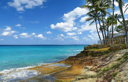 Exotic Caribbean palm tree resort. Natural wonder - seascape of the Atlantic Ocean in the Caribbeans, Cuba, turquoise waters of the ocean, blue sky with white Stock Images