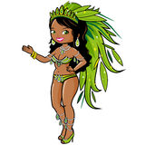 Exotic carnival dancer woman. Vector illustration of a beautiful sexy carnival dancer wearing a costume with green feathers Stock Photos