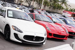 Exotic cars at Prestige Imports Royalty Free Stock Image